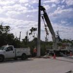 Установка бетонных столбов